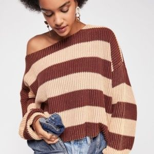Free People Just My Stripe Sweater in Brown Size M